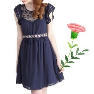 Modcloth Indie Darling Dress Navy Moon Collection